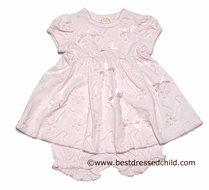 Baby Biscotti Infant Girls Tickled Pink Netting Embroidered / Bows Dress with Bloomers