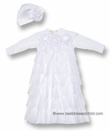 Baby Biscotti Infant Girls Tiered Tulle Gown with Cloche Hat and Roses - WHITE
