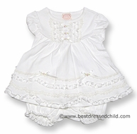 Baby Biscotti Infant Girls Victorian Rose Ivory / Off White Dress with Bloomers