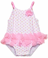 Baby Biscotti Infant Girls White with Pink / Orange Dots Little Cirque Tutu Swimsuit