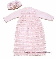 Baby Biscotti Infant Girls Wrapped in Ruffles Fancy Gown & Cloche Hat with Bow - Pink