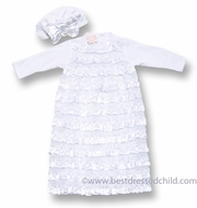 Baby Biscotti Infant Girls Wrapped in Ruffles Fancy Gown & Cloche Hat with Bow - White