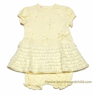 Baby Biscotti Infant Girls Yellow Oopsy Daisy Dress with Bloomers