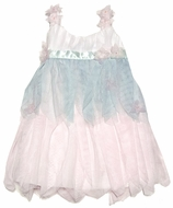 Baby Biscotti Infant / Toddler Girls Ivory / Pink / Aqua Tulle Ballerina Dress with Shirred Bodice