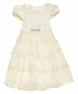 Baby Biscotti Infant / Toddler Girls J'Adore Crinkle Dress with Jewel Waist - IVORY