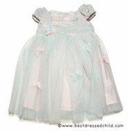 Baby Biscotti Infant / Toddler Girls Sea Foam Green over Pink Ice Princess Netting Dress