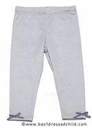 Baby Biscotti Infant / Toddler Girls Sparkling Silver Leggings with Bows