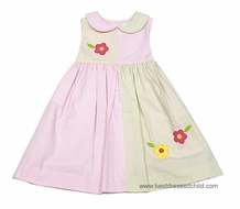 Betti Terrell Girls Pink / Green Check Color Block Sleeveless Dress with Flower Appliques