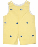 Betti Terrell Infant / Toddler Boys Yellow Gingham / Blue Embroidered Whales Shortall