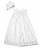 Biscotti Baby Girls White Lace Netting Christening / Baptism Gown with Rosettes and Bonnet