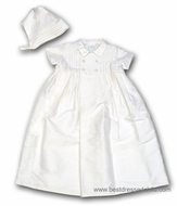 Biscotti Baby Infant Boys Off White Silk Christening Gown and Hat