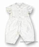 Biscotti Baby Infant Boys Off White Silk Christening Romper Suit