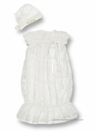 Biscotti Baby Infant Girls Cherished Heirloom Lace Christening Gown with Bonnet - IVORY