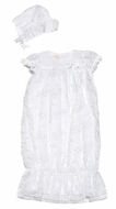 Biscotti Baby Infant Girls Cherished Heirloom Lace Christening Gown with Bonnet - WHITE