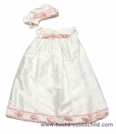 Biscotti Baby Infant Girls Gorgeous Ivory Silk Christening Gown with Pink Rosettes and Bonnet