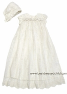 Biscotti Baby Infant Girls Ivory Lace Netting Christening Gown with Rosettes and Bonnet