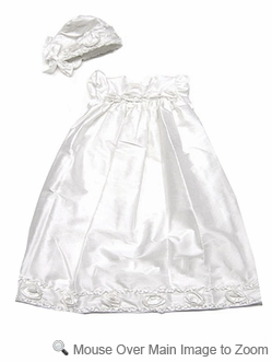 Biscotti Baby Infant Girls Off - White Silk Christening Gown with Rosettes and Bonnet