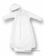 Biscotti Baby Infant Girls Sweet Smocked White Gown with Hat and Overlay Skirt with Bows