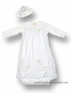 Biscotti Baby Infant Girls Sweet White Gown with Hat - Overlay with Lace Insets