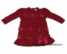 Biscotti Baby / Toddler Girls Christmas Red Sweater Dress with Ribbon Bow