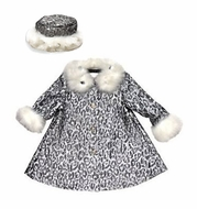 Biscotti Baby / Toddler Girls Fancy Silver / White Faux Fur Snow Princess Dress Coat & Matching Hat