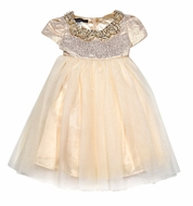 Biscotti Baby / Toddler Girls Her Majesty Gold Tulle Dress with Jewel Collar