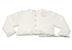 Biscotti Baby / Toddler Girls Ruffle Cardigan Sweater / Bolero with Pearl Buttons - IVORY