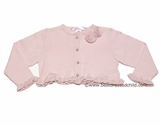 Biscotti Baby / Toddler Girls Ruffle Cardigan Sweater / Bolero with Pearl Buttons - PINK