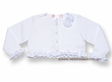 Biscotti Baby / Toddler Girls Ruffle Cardigan Sweater / Bolero with Pearl Buttons - WHITE