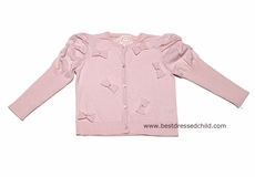 Biscotti Baby / Toddler Girls Sweet Pink Cardigan Sweater with Bows and Puff Sleeves