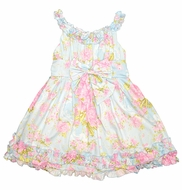 Biscotti Girls Blue / Pink Floral Easter Dress with Ruffles & Sash