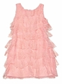 Biscotti Girls Peachy Coral Pink Tiers of Lace Ruffles Dress