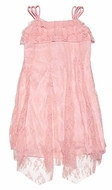 Biscotti Girls Peachy Coral Pink Lace Strappy Dress