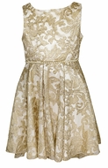 Biscotti Girls Royal Treatment High / Low Gold Holiday Party Dress - Pearls at Waist