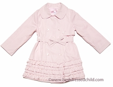 Biscotti Girls Ruffled Double Breasted Trench Coat - Pink
