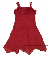 Biscotti Girls So Rosy Red Roses Bodice Strappy Dress with Handkerchief Hem - RED