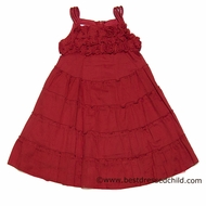 Biscotti Girls So Rosy Roses Bodice Tiered Sun Dresses -  RED