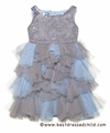 Biscotti Girls Spot On Blue / Silver Sequins Tutu Holiday Party Dresses