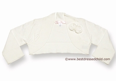 Biscotti Girls Sweater Shrug with Roses - IVORY