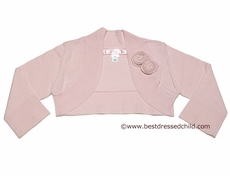 Biscotti Girls Sweater Shrug with Roses - PINK