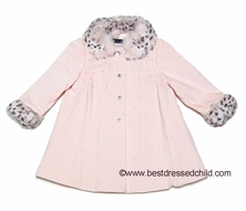 Biscotti Girls Twinkle Twinkle Pink Dress Coat with Sparkles & Faux Fur Leopard Trim