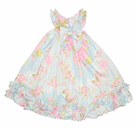 Biscotti Infant / Toddler Girls Blue Floral Easter Dress with Bows