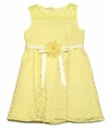 Blush by Us Angels Girls Yellow Illusion Neck Daisy Lace Dress
