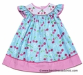 Candyland Girls Blue / Pink Cherry Print Smocked Cherries Dress