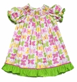 Candyland Girls Pink / Green Butterfly Print Smocked Butterflies Dress
