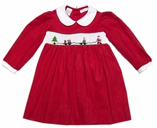 Carriage Boutique Girls Red Corduroy Smocked Santa Claus Train Christmas Dress