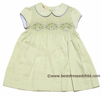 Carriage Boutique Girls Spring Green Dress with Scallop Smocking - Short Sleeves