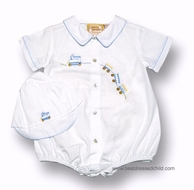 Carriage Boutique Infant Baby Boys Embroidered Train Bubble with Hat - WHITE