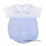 Carriage Boutique Infant Baby Boys Light Blue / White Bubble with Train Shadow Embroidery