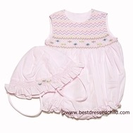 Carriage Boutique Infant Baby Girls Sweet Pink Sleeveless Smocked Bubble with Hat